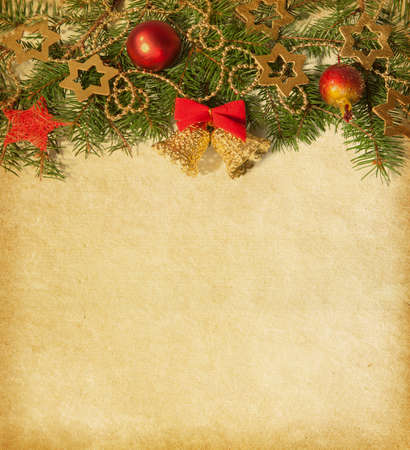 gold textured background: Beige background with Christmas border