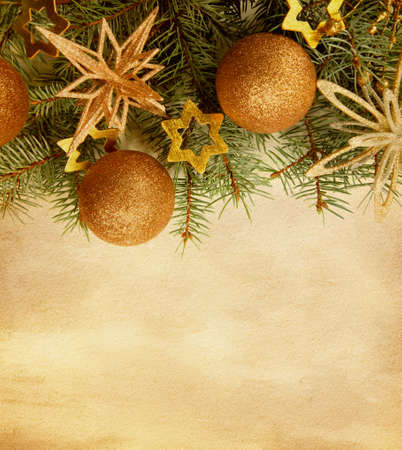 christmas backgrounds: Beige paper background with Christmas border.