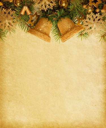 Old paper background with Christmas border  photo