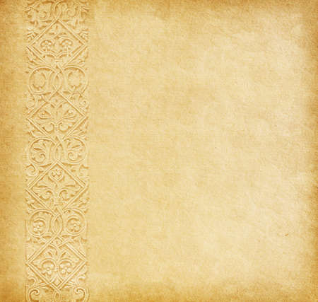 Beige background  Old paper with oriental ornament  Stock Photo