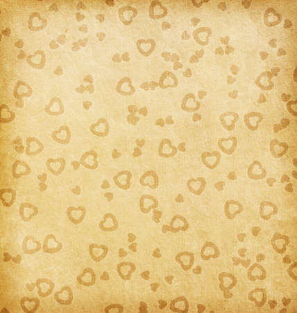 aged paper texture  paper with hearts Stock Photo - 17333143