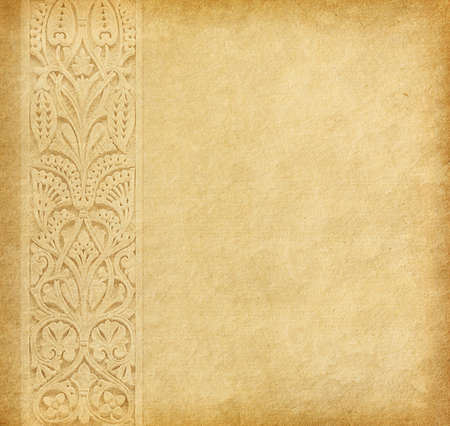 Old worn paper with oriental  ornament  photo