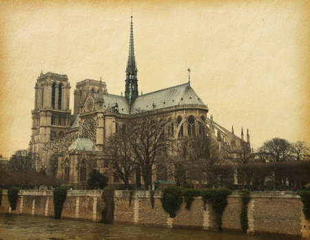 notre: Notre Dame de Paris  View from the south  Photo in retro style  Paper texture  Stock Photo