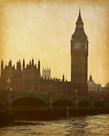 ben: vintage paper. Buildings of Parliament with Big Ben tower