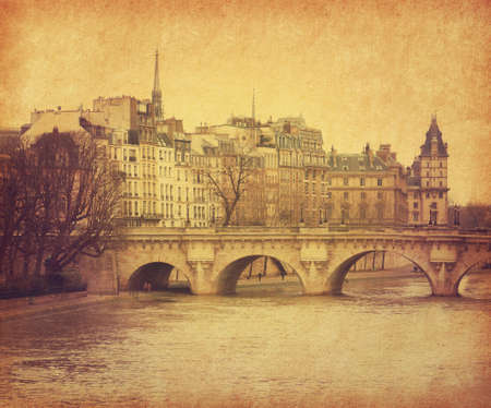 Seine.Pont Neuf in central Paris, France. Photo in retro style. Paper texture. photo