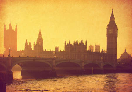 vintage paper. Buildings of Parliament with Big Ben tower. London,  UK  photo