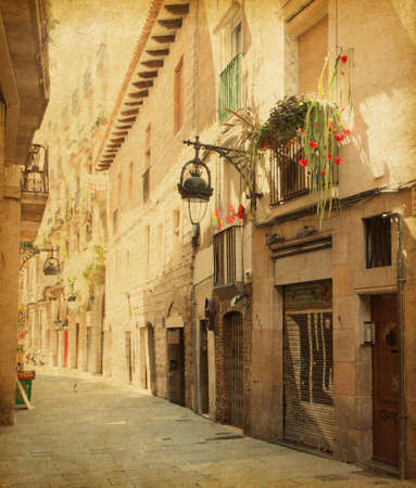 Empty alleyway in Barcelona,  Spain  Carrer de les sitges street       Photo in retro style  Paper texture  photo