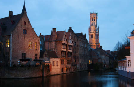 Bruges historic centre at Night  The classic view from the Rozenhoedkaai  Belgium photo