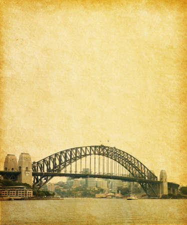 Sydney Harbour Bridge  in retro  style, Australia  paper texture