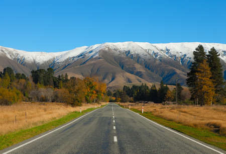 nz: Straight road  in Canterbury region, NZ Stock Photo