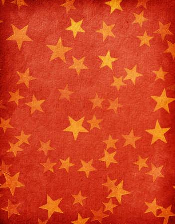 vintage piros papír díszített arany csillag