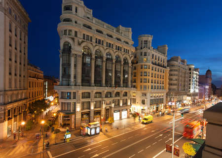 MADRID, SPAIN - MAY 9  night lighting  on Gran  Via street , 09 May, 2012 in Madrid, Spain  Gran  Via is an ornate and upscale shopping street located in central Madrid