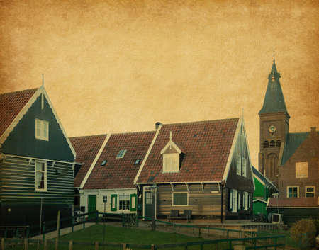 marken: wooden houses in traditional style, Marken, Netherlands  paper texture Stock Photo