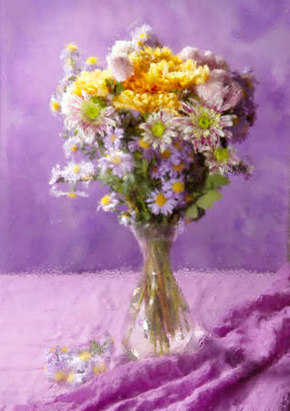 colorful chrysanthemums bunch on abstract background   Photographed through a distorted glass