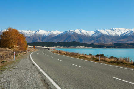 new scenery: Autumn  Road in Canterbury, New Zealand Stock Photo