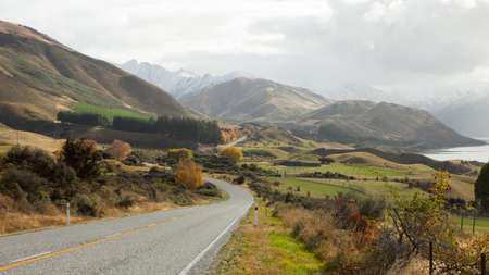 Scenic Road along Lake Hawea, New Zealand photo