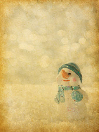 retro image with  happy snowmen  old paper photo
