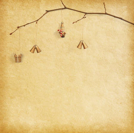 christmas decoration hanging over paper  background photo