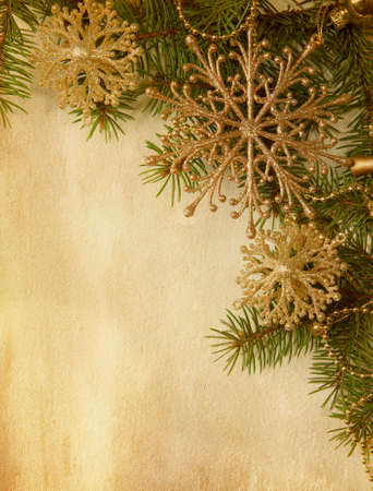 Beige paper background with Christmas border  photo