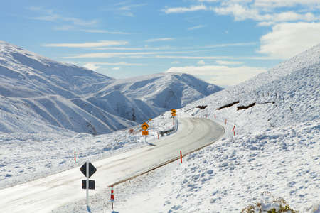 new way: Road Through Snowy Mountains  Crown Range Road, South Island, New Zealand