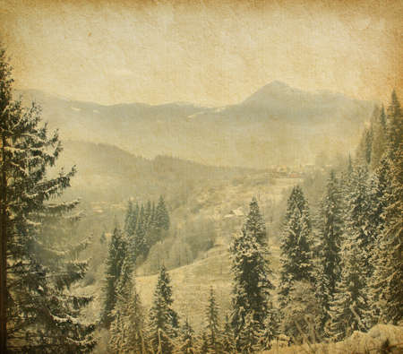 winter thaw: Retro image of winter landscape in the carpathians mountains  vintage paper
