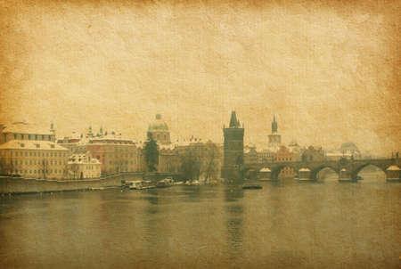 View near Charles bridge in Prague, Czech Republic  vintage paper   photo