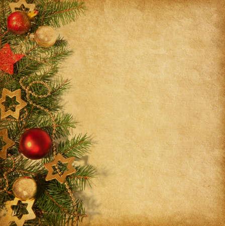 クリスマス枠でベージュの用紙の背景。   写真素材