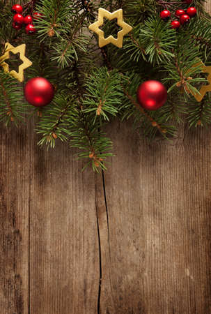 untreated: Old grunge wooden board  with Christmas border. Stock Photo