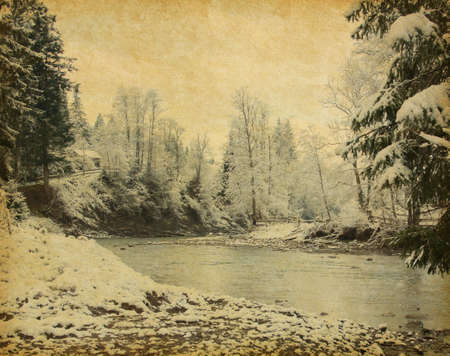 winter thaw: Retro image of winter landscape in the carpathians mountains