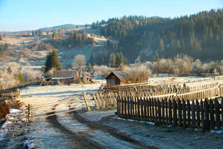 carpathian mountains: Village in the early morning Stock Photo
