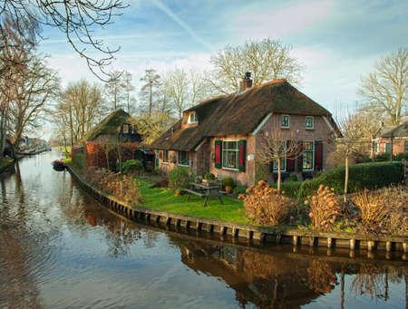 Fijn land uitzicht in Giethoorn, Nederland