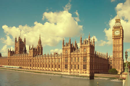 london skyline: House of Parliament with Big Ben tower in London UK view from Themes river Stock Photo