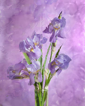 bouquet of spring purple Irises behind  glass  Still life  It is photographed through wet glass   photo