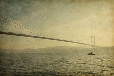 bosphorus: Bosphorus Bridge,   Istanbul , Turkey. Added paper texture