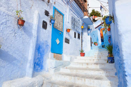 Een steegje in de medina, Chefchaouen, Marokko Stockfoto