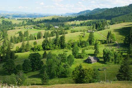 carpathian mountains: Rural landscape in Carpathian Mountains,  Ukraine Stock Photo