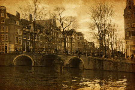 Canal in Amsterdam, The Netherlands   Added paper texture  photo