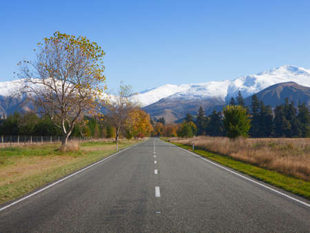 nz: Straight road in Canterbury region, NZ