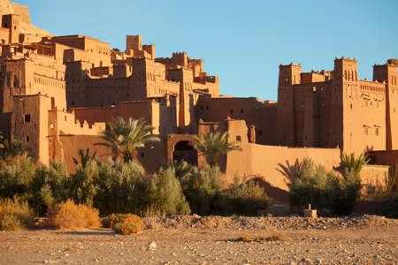 Ait Benhaddou egy erődített város, vagy Ksar, valamint az egykori karaván útvonalon között a Szahara és a Marrakech Marokkó Stock fotó