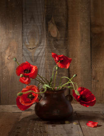 Beautiful Sunflowers in  clay pot against  old  wooden wall photo