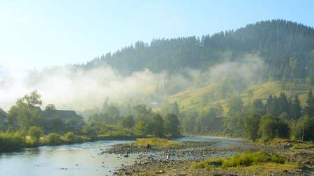 beautiful summer morning in Carpathian Mountains , Ukraine