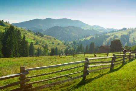 carpathian mountains: beautiful sunny   morning in  Carpathian Mountains  near Verkhovyna  , Ukraine Stock Photo