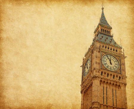 Big Ben - Upper portion of the tower, London,  Added paper texture photo