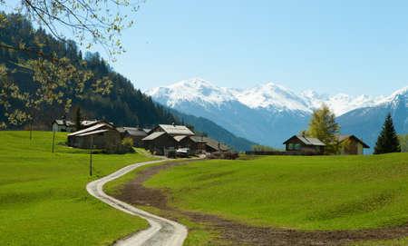 valais: Small farm in Swiss alps  near Leukerbad   Bodmen,  Valais, Switzerland Stock Photo