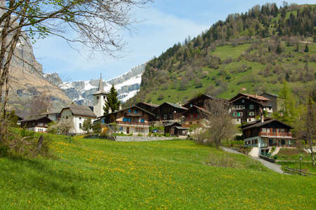 valais: Inden church and surrounding village, Canton of Valais, Switzerland