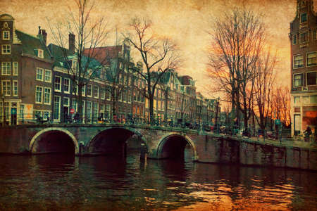 Evening in Amsterdam, Netherlands   Photo in retro style  Paper texture  photo