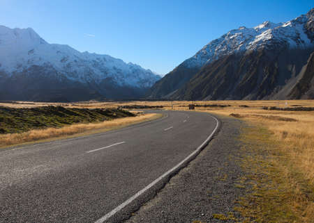 Road in Mount Cook National Park, New Zealand photo