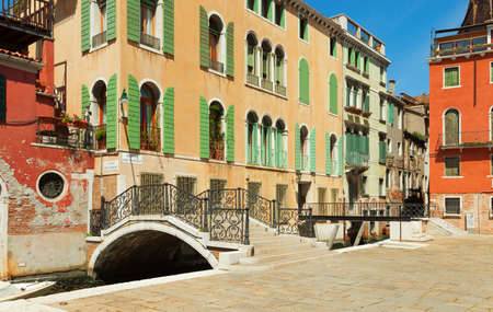 dingy: Ponte Giustinian, Venice, Italy  Stock Photo