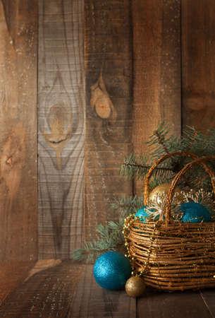 Karácsonyi díszítés fa deszkán.