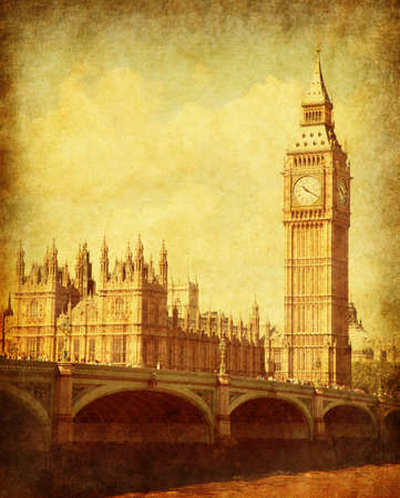 london big ben: Grunge image with Houses of Parliament,  London, UK. Stock Photo